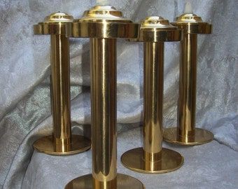 4 Mid Century MODERNIST Brass CANDLE STICKS Holders by Hans - Agne Jakobsson of Sweden