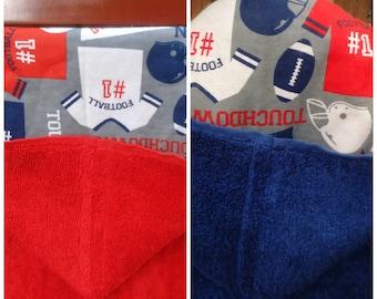 Football hooded bath towel your choice of color, kids bath towel, personalized kids beach towel, toddler hooded towel, hooded bath towel