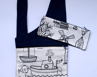 Easy wear cross body bag, colour-in fabric, pencil case, navy, boat, children bag