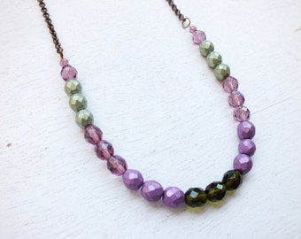 Purple Geen Beaded Necklace Long Necklace Colorful Necklace Bronze Chain Necklace