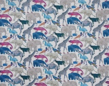 Liberty of London fabric  Queue For The Zoo- 9''x26'' Fat Eighth Blue-NEW 2014!