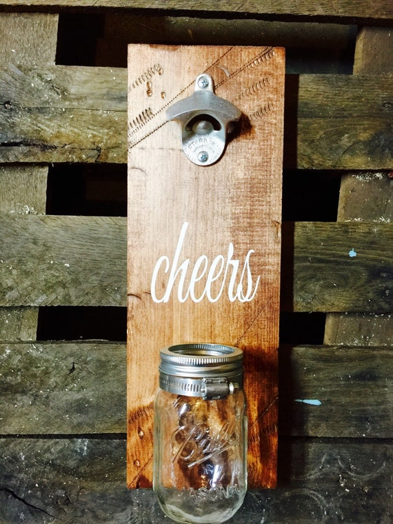 wall mounted bottle opener and cap catcher cheers. Black Bedroom Furniture Sets. Home Design Ideas
