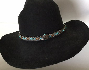 Beaded Hat Band - Micro Macrame in shades of turquoise and sand