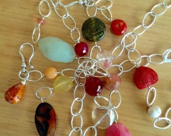 Big Silver Links and Chunky Gemstone Necklace.