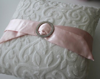 "Decorative Pillow - 16"" x 16"" White Embossed Vine with Pink Satin and Rhinestone Ribbon Slide, Nursery, Baby Shower"