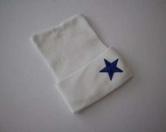 A Star is Born White Cotton Newborn Beanie Hospital Hat, Baby Girl or Boy, Baby Keepsake, Blue or Silver Star