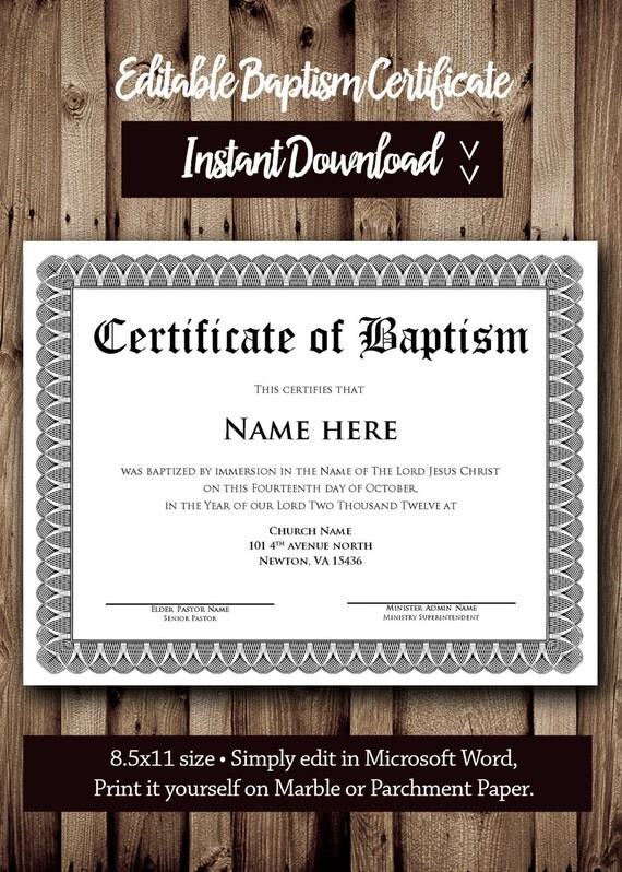 Baptism CERTIFICATE Template Microsoft Word Editable – How to Make Certificates in Word