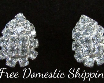 Rhinestone Earrings, Bridal Earrings, Wedding Earrings, Clip On Earrings, Cluster Earrings, Teardrop Earrings, Free US Shipping