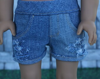 Distressed Destroyed Light Blue Denim Jean SHORTS for 18 Inch Doll such as American Girl Doll