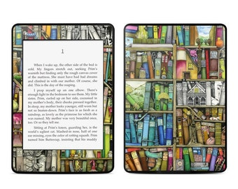 Amazon Kindle Skin - Bookshelf by Colin Thompson - Sticker Decal - Fits Paperwhite, Fire, Voyage, Touch, Oasis