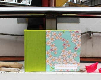 little green turquoise photo album, photo book, photos, fabric-related photo album, photo album, gift, personalized