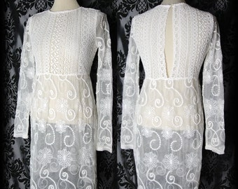 Gothic White Lace Detail HEARTBROKEN Sheer Dress 8 10 Victorian Romantic Vintage