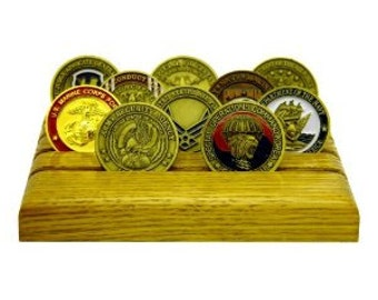 Military Challenge Coin Holder- Oak Light Stain- 12 coins