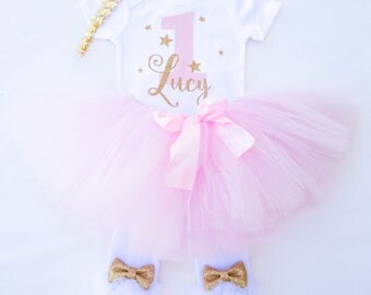 Pink and Gold winter 1st Birthday outfit / Twinkle Little Star Birthday Outfit / Unicorn First Birthday Outfit / Winter Birthday