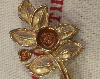 Vintage Two-Tone Rose and Yellow Gold AVON Rose Pendant Brooch Pin