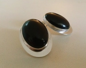 Oval Black Onyx Earrings handmade with a Black gemstone and Sterling Silver for a statement, cocktail, bold or  fashion accessory,