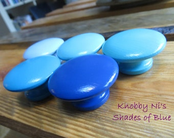 Blue Solid Color Hand Painted Drawer Knobs | Dresser Pulls | Drawer Pulls | Nail Covers