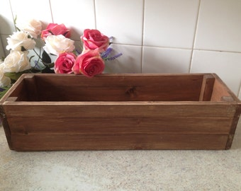 Wooden window box rustic vintage style hand crafted in solid pine natural wood compliments warm summer blooms 50 cm long x 16 wide x 12 high