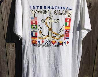 Vintage 90s International Yacht Club Anchor Nautical Yacht Rock Tee Shirt!