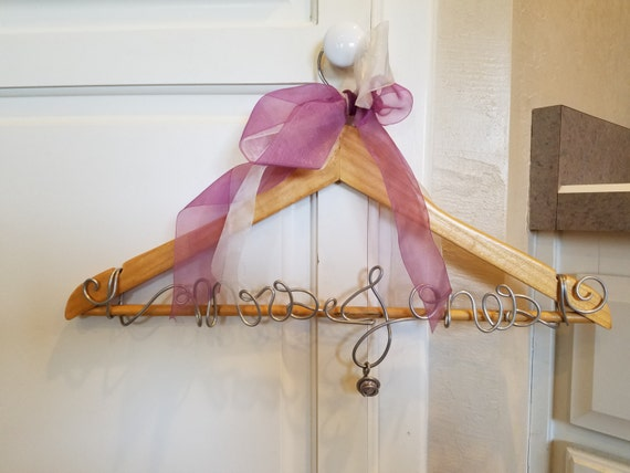 Mrs jones bridal hanger bride gift wedding wire art for Mrs hangers wedding dress