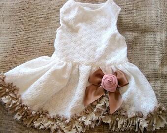 Wedding Dog Dress | French Country dog dress | Country wedding | rustic wedding dress | XS S M L