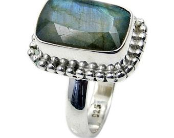 Labradorite & .925 Sterling Silver Ring Size 7.5 , AC916