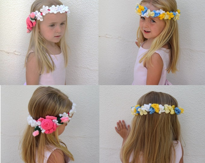 Flower knitting pattern, Flower Crowns and garlands, girls hair accessories, knitted flower tiaras, princess crowns, girls knitting pattern