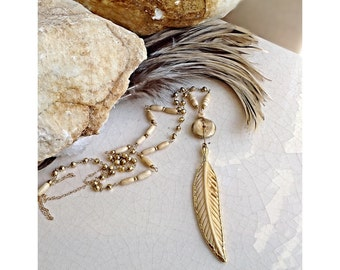 Tan Carved Bone Feather Pendant/ Lux Bohemian Jewelry/ Festivalstyle Accesories