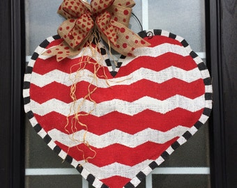 Burlap Heart Door or Wall Hanger, Hand Painted & Stuffed Chevron Burlap Heart Door Hanger w/ Glitter Heart Burlap Ribbon Bow