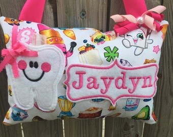 Shopkins personalized tooth fairy pillow