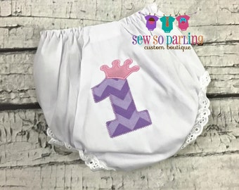 1st Birthday Princess Diaper Cover - Birthday Bloomers - Baby Girl Bloomers - Pink and Purple Diaper cover