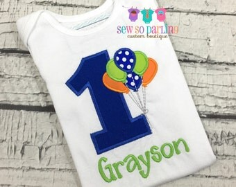 Baby Boy Birthday Outfit - 1st Birthday Balloon Birthday Outfit - 1st Birthday Shirt - Blue Orange Green Boy Birthday Shirt - 2nd birthday