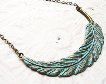 Necklace, Large Turqoise Patina Feather necklace  No. N9