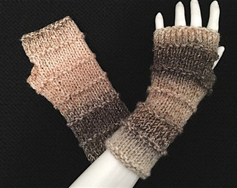 Knit Fingerless Gloves, Fingerless Mitts, BOHO Hand Warmers_Caramel Tan-Ivory-Black, Purled Bands Design, FG-PB101
