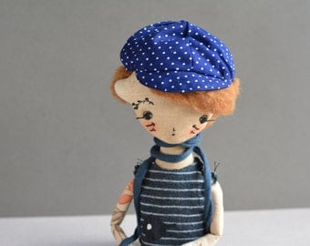 Pixie elf doll - Woodland  boy - Handmade doll - Textile toy - Exrime primitive - Embroidered insect - Fantasy doll - Cloth doll.