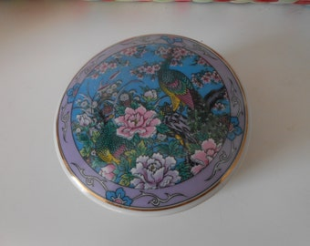 trinket box china decorative storage blue tropical bird flowers china japan origin french decor shabby chic collectible