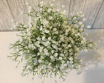 Artificial baby breath bouquet finished with lace