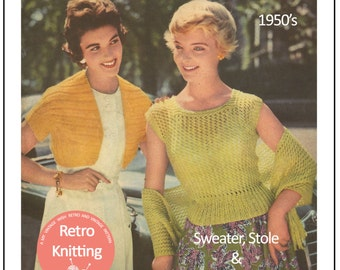 1950s Rockabilly Style Sweater, Stole and Bolero - Vintage Knitting Pattern - PDF  Instant Download