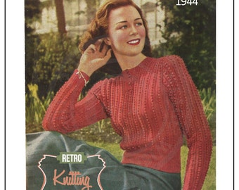 1940's Lady's Sweater Vintage Knitting Pattern - PDF Knitting Pattern - PDF Instant Download