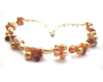 Multi strand mixed coloured orange yellow beige freshwater pearls/necklace with different colors beige yellow orange freshwater pearls