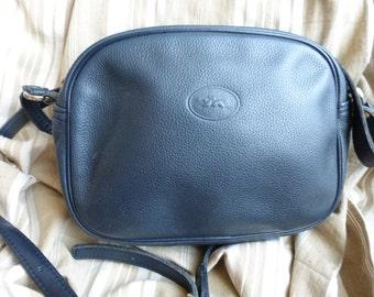 Longchamp France vintage navy blue leather shoulder messenger bag