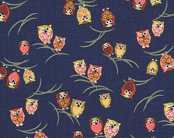 Cute Multicolor Winking Owls Asian Japanese Fabric (1/2 Yd Increments)
