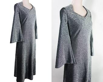 Vintage Maxi Dress Party Disco 70s. Silver Dress.  Swarovsky details around neckline. Bell sleeve. Floor length. L size.