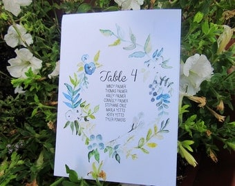 Table assignment cards