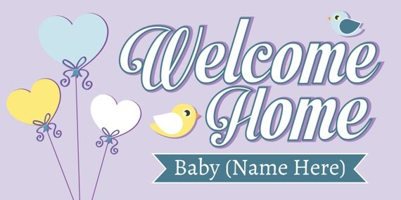 Welcome Home Baby Banner With Bird And Heart Balloons