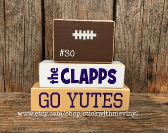 football family blocks, family name blocks, football decor, mini wood stackers, sports blocks, soccer family sign