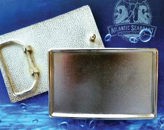 Polished Silver Tone Rectangle Belt Buckle Blank - Add your Own Design - Custom DIY