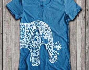 Ethnic Elephant Print  Women's U-Neck T-Shirt