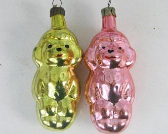 Vintage Soviet Monkey Christmas tree decorations, Set of 2 Glass Ornaments,  Yellow and Pink Figurine  Retro Tree decoration
