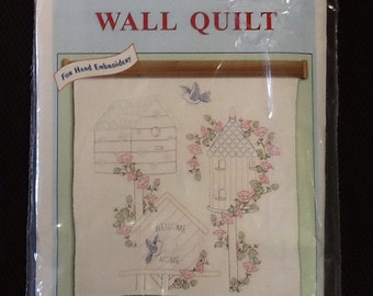 Birdhouses wall quilt cross stitch design